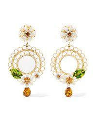 Dolce & Gabbana | Metallic Gold-tone, Swarovski Crystal And Enamel Clip Earrings | Lyst