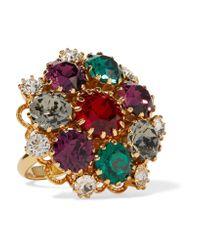 Dolce & Gabbana | Metallic Gold-tone Crystal Ring | Lyst