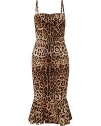 Dolce & Gabbana | Brown Ruched Leopard-print Silk-cady Midi Dress | Lyst