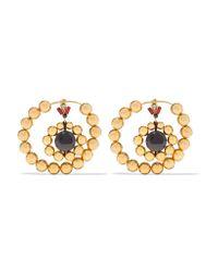 Marni   Metallic Gold-tone, Crystal And Resin Earrings   Lyst