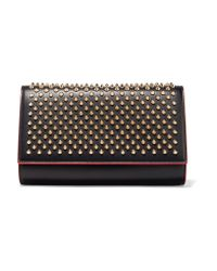 Christian Louboutin | Black Paloma Spiked Leather Clutch | Lyst