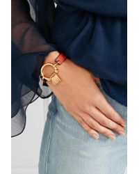 Chloé - Red Leather And Gold-tone Bracelet - Lyst