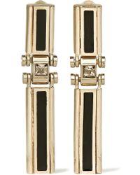 Lanvin | Metallic Gold-tone, Swarovski Crystal And Resin Clip Earrings | Lyst