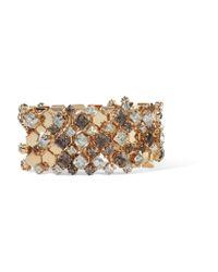 Lanvin | Metallic Gold-tone Swarovski Crystal Bracelet | Lyst