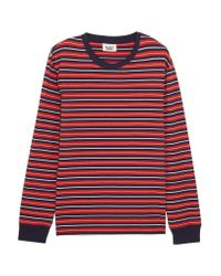 Sleepy Jones | Red Stevie Striped Cotton Pajama Top | Lyst