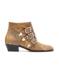 Chloé - Brown Susanna Studded Watersnake Ankle Boots - Lyst