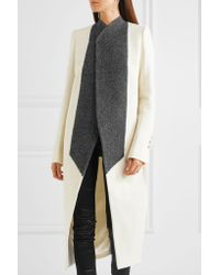 Rick Owens - White Two-tone Wool-blend Coat - Lyst