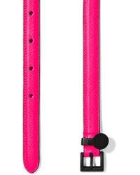Prada - Pink Neon Textured-leather Belt - Lyst