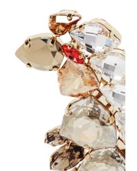Lanvin - Metallic Gold-tone, Feather And Crystal Brooch - Lyst