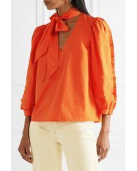Ulla Johnson Orange Julie Tie-neck Ruffled Cotton-poplin Blouse