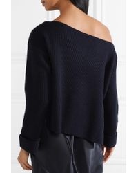 Vince - Woman One-shoulder Cashmere Sweater Midnight Blue - Lyst