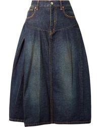 Junya Watanabe - Blue Denim Midi Skirt - Lyst