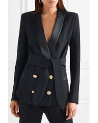 Balmain - Blue Belted Double-breasted Crepe Blazer - Lyst