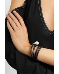 Mizuki - Black Convertible 14-karat Gold, Leather And Pearl Wrap Bracelet - Lyst