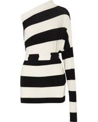 Norma Kamali | Black All In One Striped Stretch-jersey Mini Dress | Lyst