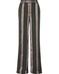 Adam Lippes | Green Striped Satin-trimmed Twill Wide-leg Pants | Lyst