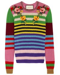 Gucci | Pink Appliquéd Striped Wool And Cashmere-blend Sweater | Lyst