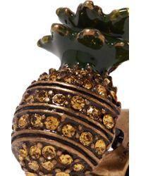 Marc Jacobs - Metallic Pineapple Burnished Gold-tone, Swarovski Crystal And Enamel Earrings - Lyst