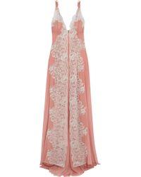 Rosamosario - Pink Sweet Sumatra Metallic Lace-paneled Silk-georgette Nightdress - Lyst