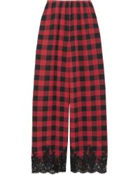 Rosamosario | Red Love Moon In Isle Of Skye Lace-trimmed Checked Silk Pajama Pants | Lyst