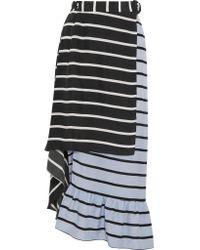 Preen By Thornton Bregazzi | Black Don Striped Washed-silk Midi Skirt | Lyst