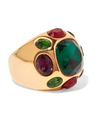 Kenneth Jay Lane - Metallic Gold-plated Crystal Ring - Lyst