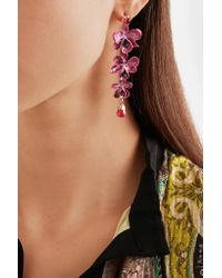 Etro - Pink Gold-plated, Enamel, Resin And Crystal Earrings - Lyst