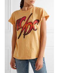 MadeWorn - Orange Ac/dc Distressed Printed Cotton-jersey T-shirt - Lyst