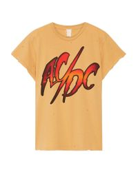 MadeWorn - Orange Ac/dc Distressed Printed Cotton-jersey T-shirt - Lyst