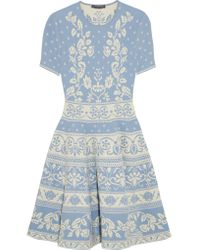 Alexander McQueen | Blue Stretch Jacquard-knit Mini Dress | Lyst