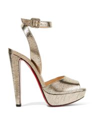 Christian Louboutin | Louloudancing Metallic Leather Platform Sandals | Lyst