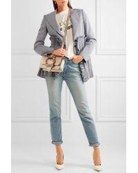 Miu Miu - Embellished Metallic Textured-leather Shoulder Bag - Lyst