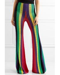Balmain | Green Striped Open-knit Flared Pants | Lyst