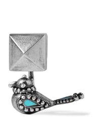 Valentino | Metallic Burnished Enameled Silver-tone Earring | Lyst