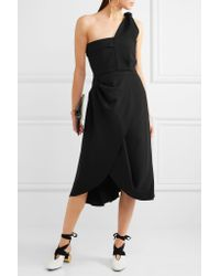 J.W.Anderson - Black One-shoulder Draped Crepe Dress - Lyst