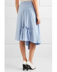 J.W.Anderson - Blue Asymmetric Striped Silk Crepe De Chine Skirt - Lyst