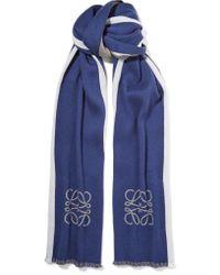 Loewe | Blue Reversible Striped Wool And Silk-blend Scarf | Lyst