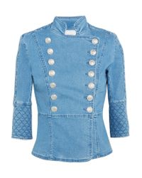 Balmain - Blue Quilted Double-breasted Denim Jacket - Lyst