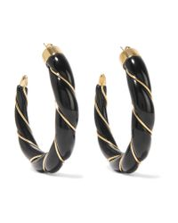 Aurelie Bidermann | Black Diana Gold-plated Enamel Hoop Earrings | Lyst