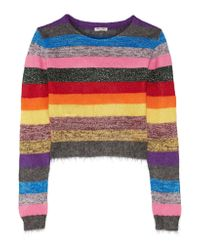 Miu Miu - Pink Cropped Metallic Striped Stretch-knit Sweater - Lyst