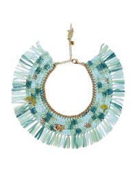 Rosantica | Green Gold-tone, Raffia And Quartz Necklace | Lyst