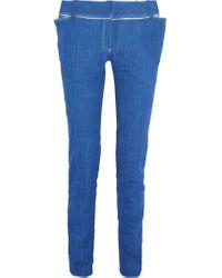 Ronald Van Der Kemp - Blue Metallic Leather-trimmed Low-rise Slim-leg Jeans - Lyst