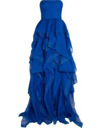 Reem Acra | Blue Strapless Ruffled Silk-chiffon Gown | Lyst