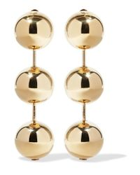 Balenciaga - Metallic Gold-tone Clip Earrings - Lyst