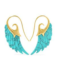 Noor Fares - Metallic Wing 18-karat Gold Turquoise Earrings - Lyst