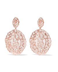 Aurelie Bidermann - Pink Lace Rose Gold-plated Earrings Rose Gold One Size - Lyst