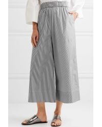 Tibi - Black Cropped Striped Cotton-poplin Wide-leg Pants - Lyst