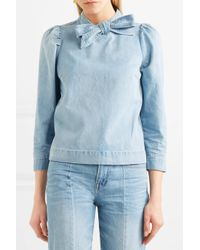 Ulla Johnson - Blue Wes Bow-embellished Denim Blouse - Lyst