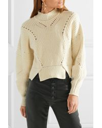 Isabel Marant - Natural Lane Cropped Ribbed Cotton-blend Sweater - Lyst