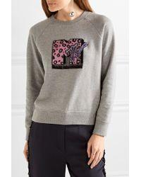 Marc Jacobs - Gray Appliquéd Cotton-terry Sweatshirt - Lyst